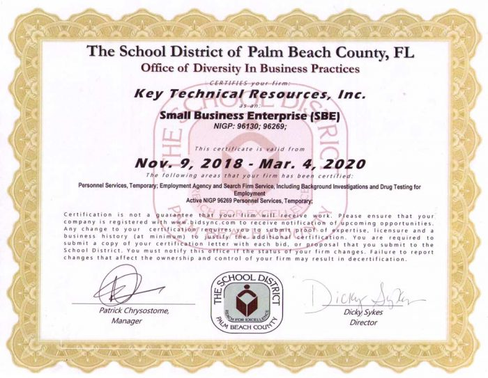 The school district of palm beach county - certification
