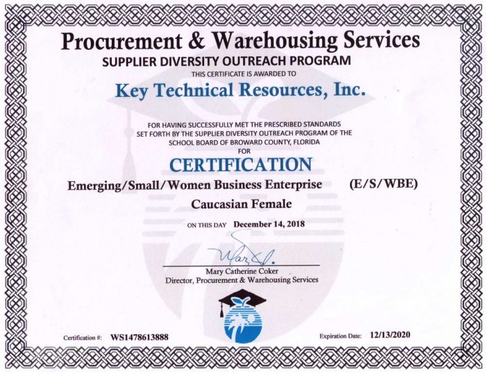 procurement & warehousing services certification